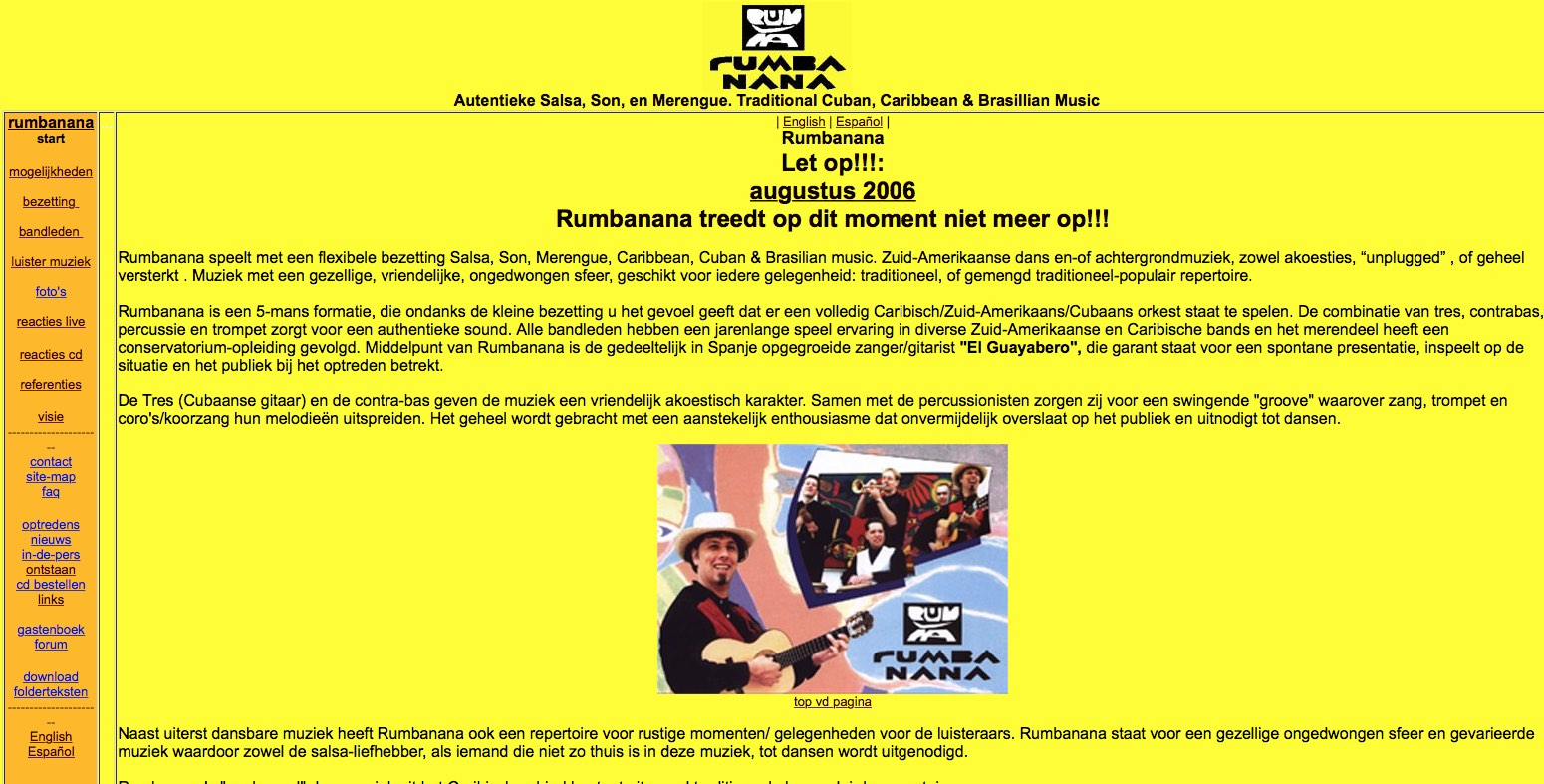 oude website rumbanana 2006